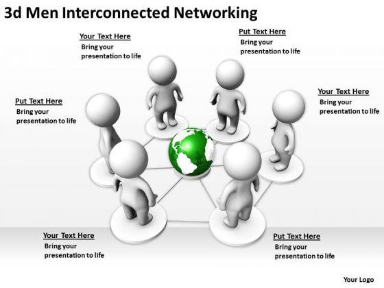 Business Logic Diagram 3d Men Interconnected Networking PowerPoint Templates