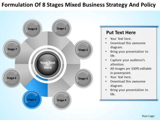 Business Logic Diagram Of 8 Stages Mixed Strategy And Policy PowerPoint Slide