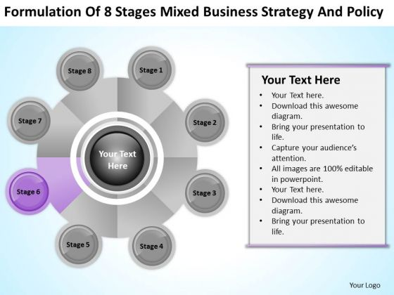 Business Logic Diagram Of 8 Stages Mixed Strategy And Policy PowerPoint Slides
