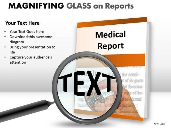 Business Magnifying Glass On Report PowerPoint Slides And Ppt Diagram Templates