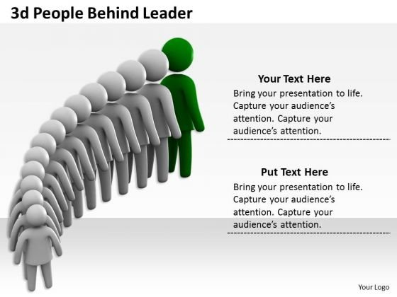 Business Management Strategy 3d People Behind Leader Character