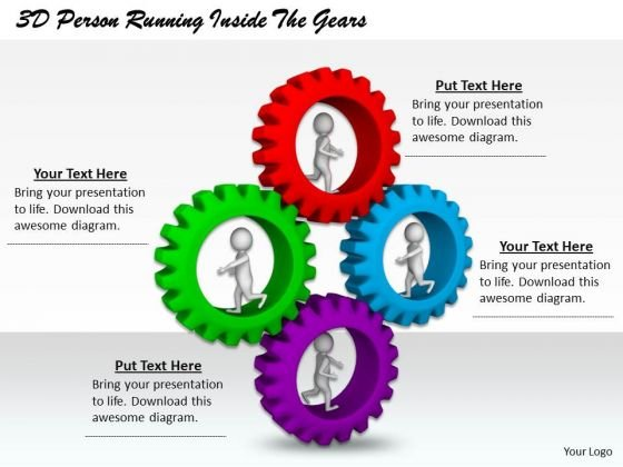 Business Management Strategy 3d Person Running Inside The Gears Character