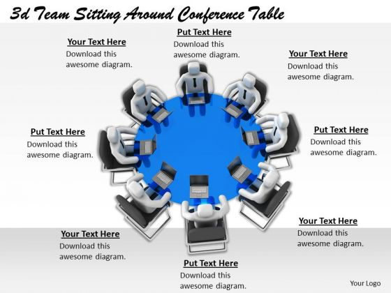 Business Management Strategy 3d Team Sitting Around Conference Table Adaptable Concepts