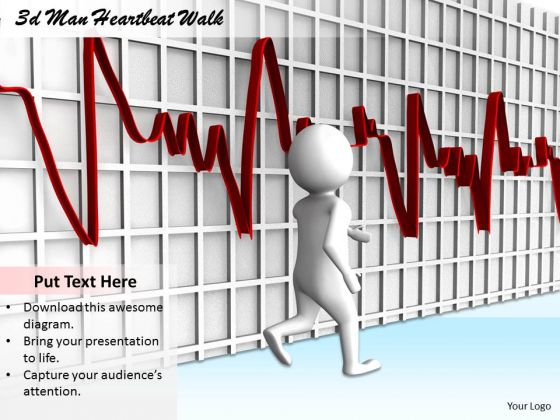 Business Management Strategy 3d With Heart Beat Walk Adaptable Concepts