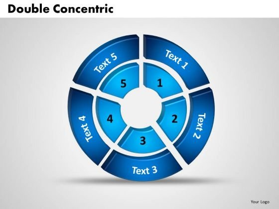 Business Marketing PowerPoint Templates Business 3d Double Concentric Rings Pieces Ppt Slides