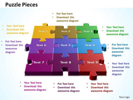 Business Marketing PowerPoint Templates Business 3d Puzzle Pieces Put Together Ppt Slides