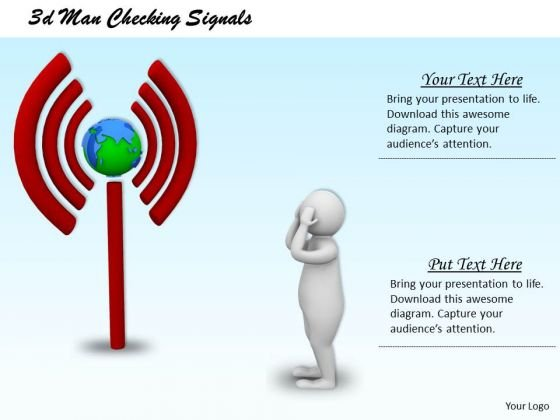Business Marketing Strategy 3d Man Checking Signals Character