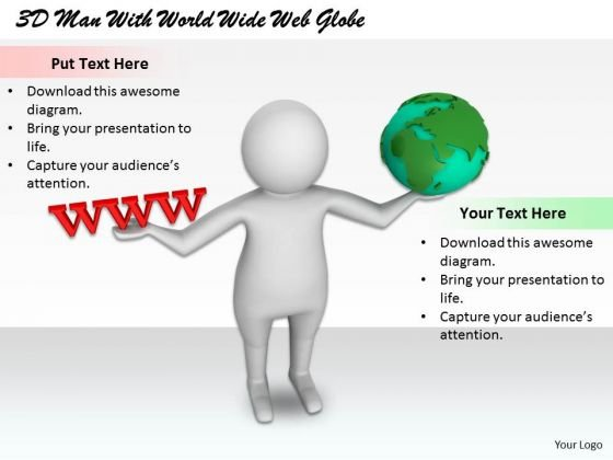 Business Marketing Strategy 3d Man With World Wide Web Globe Basic Concepts