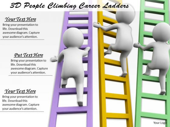 Business Marketing Strategy 3d People Climbing Career Ladders Character Modeling