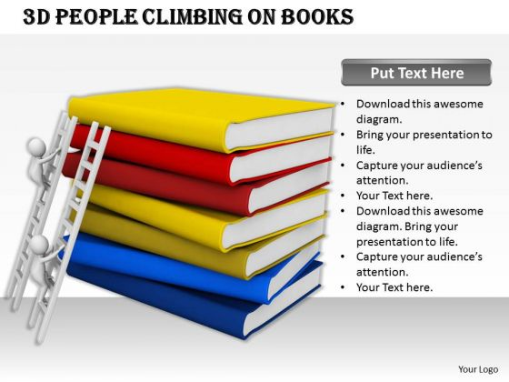 Business Marketing Strategy 3d People Climbing On Books Character Modeling