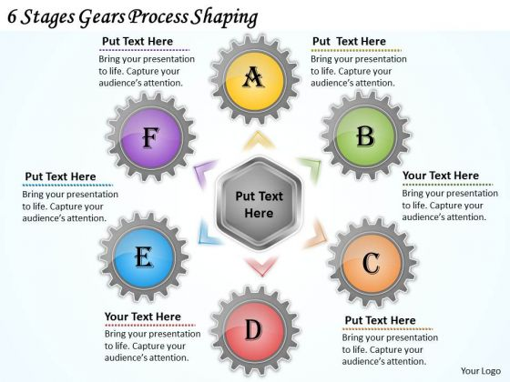 Business Marketing Strategy 6 Stages Gears Process Shaping Strategic Planning Ppt Slide