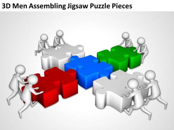 business men 3d assembling jigsaw puzzle pieces powerpoint, Presentation templates