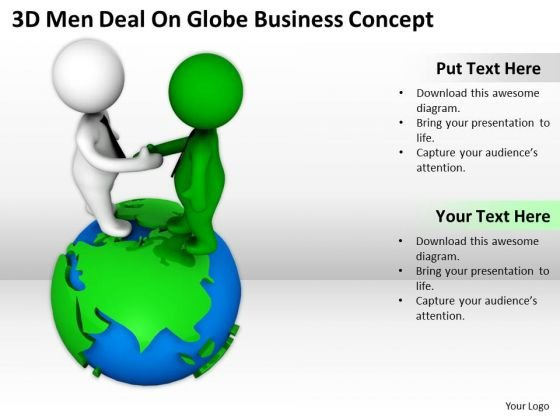 Business Men 3d Deal On Globe PowerPoint Presentations Concept Templates