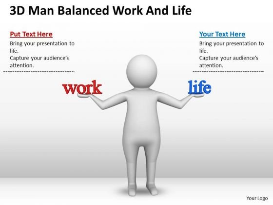 Business Men 3d Man Balanced Work And Life PowerPoint Slides