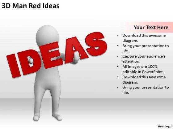 Business Men 3d Man Red Ideas PowerPoint Templates Ppt Backgrounds For Slides