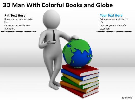 Business Men 3d Man With Colorful Books And Globe PowerPoint Templates