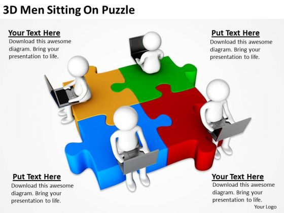 Business Men 3d Sitting On Puzzle PowerPoint Templates Ppt Backgrounds For Slides
