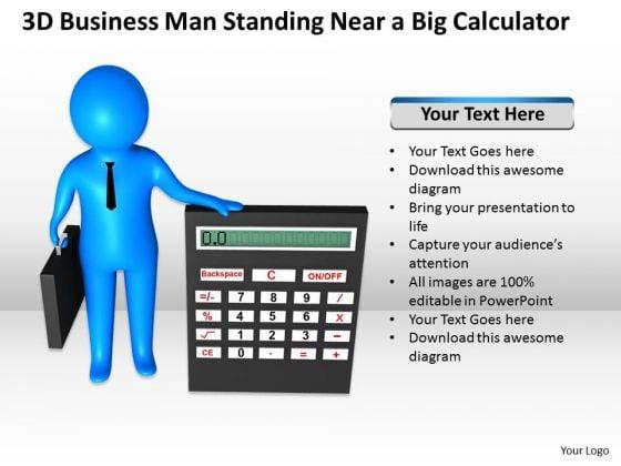 Business Men PowerPoint Templates Download Man Standing Near Big Calculator Slides