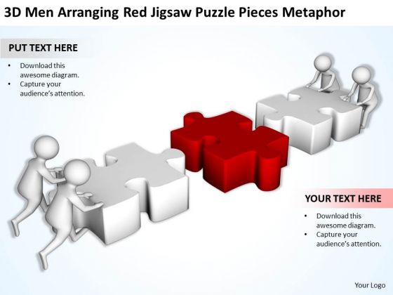 Business Men Red Jigsaw Puzzle Pieces Metaphor PowerPoint Templates Ppt Backgrounds For Slides