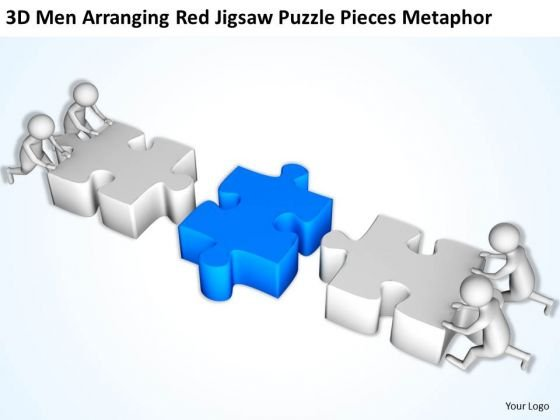 business men red jigsaw puzzle pieces metaphor powerpoint, Modern powerpoint