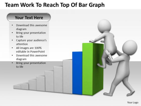 Business Men Team Work To Reach Top Of Bar Graph PowerPoint Templates Ppt Backgrounds For Slides