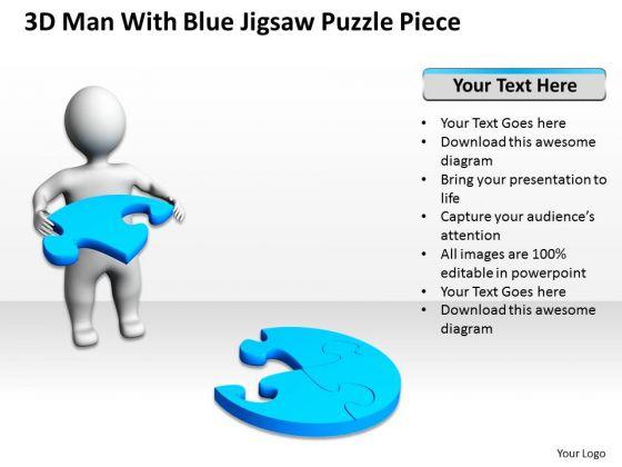Business Model Diagram 3d Man With Blue Jigsaw Puzzle Piece PowerPoint Slides