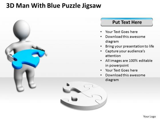 Business Model Diagram 3d Man With Blue Puzzle Jigsaw PowerPoint Slides