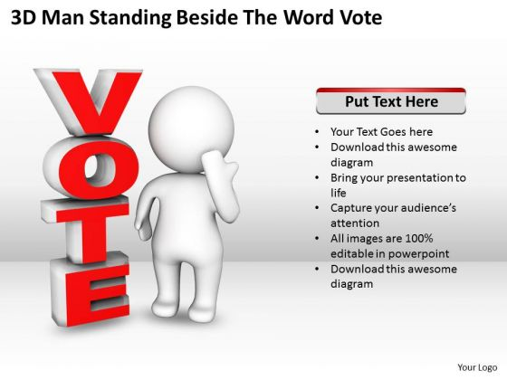 Business Model Diagram Examples 3d Man Standing Beside The Word Vote PowerPoint Templates