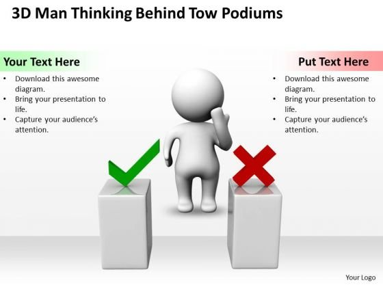 Business Model Diagram Examples 3d Man Thinking Behind Two Podiums PowerPoint Templates