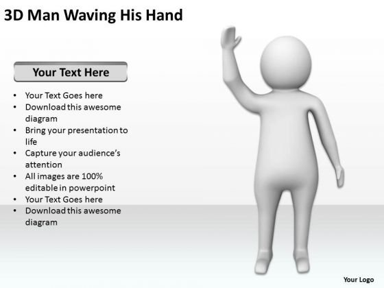 Business Model Diagram Examples 3d Man Waving His Hand PowerPoint Templates