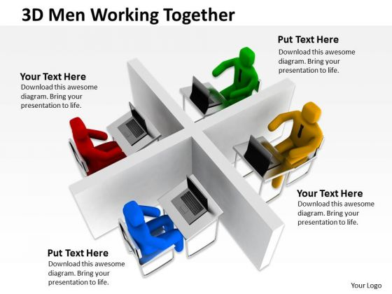 Business Model Diagram Examples 3d Men Working Together PowerPoint Templates