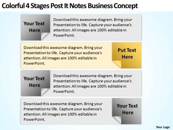 Business Model Diagram Examples 4 Stages Post It Notes Concept PowerPoint Templates
