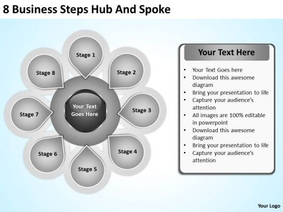 Business Model Diagram Examples PowerPoint Templates Steps Hub And Spoke Ppt