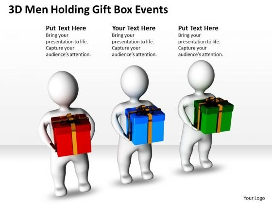 Business Model Diagrams 3d Men Holding Gift Box Events PowerPoint Slides