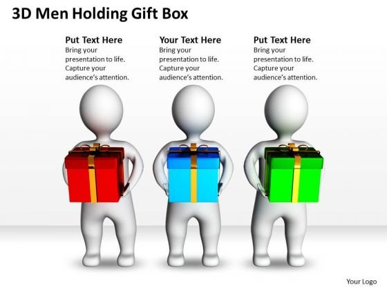 Business Model Diagrams 3d Men Holding Gift Box PowerPoint Slides