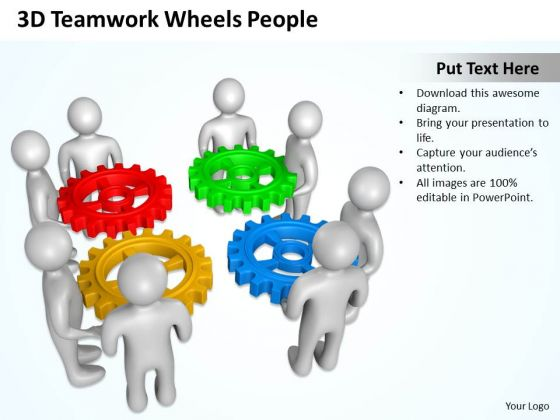 Business Model Diagrams 3d Teamwork Wheels People PowerPoint Templates Ppt Backgrounds For Slides