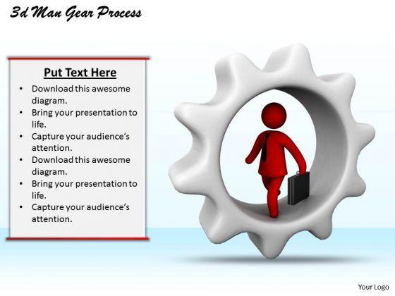 Business Model Strategy 3d Man Gear Process Basic Concepts