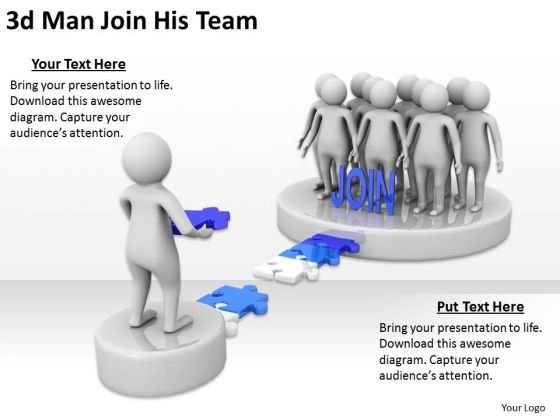 Business Model Strategy 3d Man Join His Team Concepts