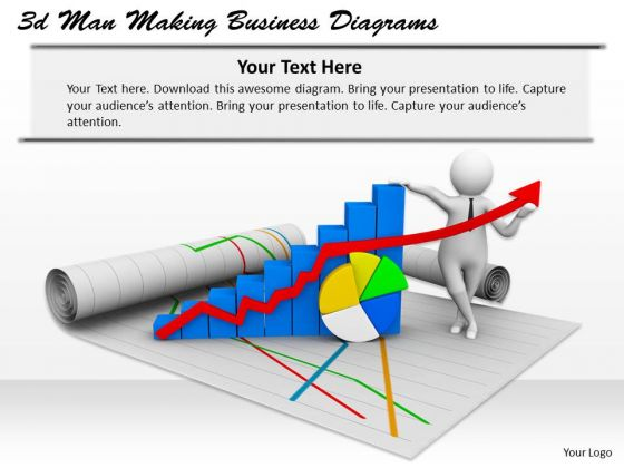 Business Model Strategy 3d Man Making Diagrams Basic Concepts