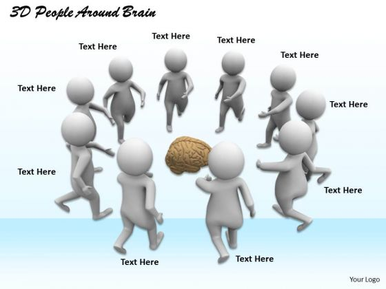 Business Model Strategy 3d People Around Brain Adaptable Concepts