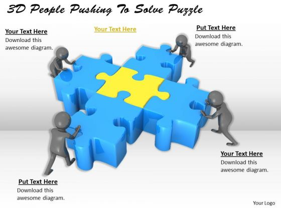 Business Model Strategy 3d People Pushing To Solve Puzzle Adaptable Concepts