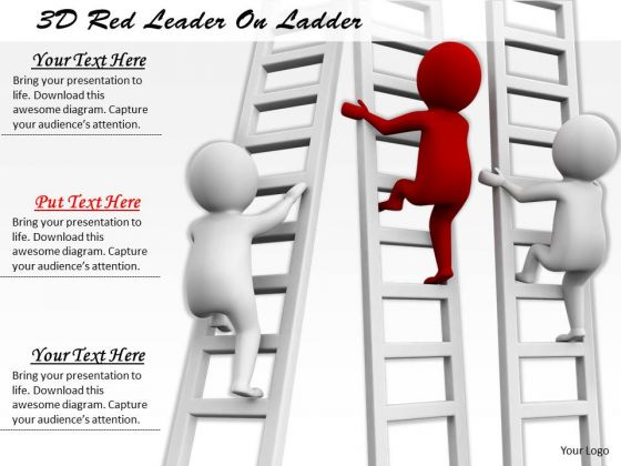 Business Model Strategy 3d Red Leader On Ladder Concept