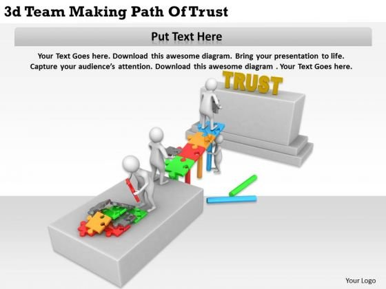 Business Model Strategy 3d Team Making Path Of Trust Character