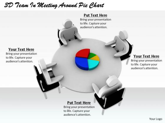 Business Model Strategy 3d Team Meeting Around Pie Chart Character Models