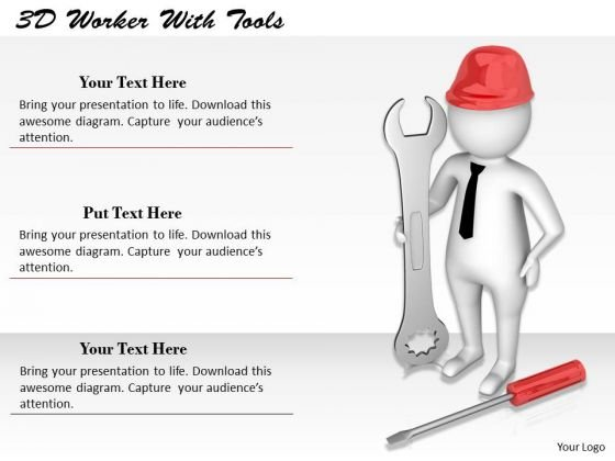 Business Model Strategy 3d Worker With Tools Character Models