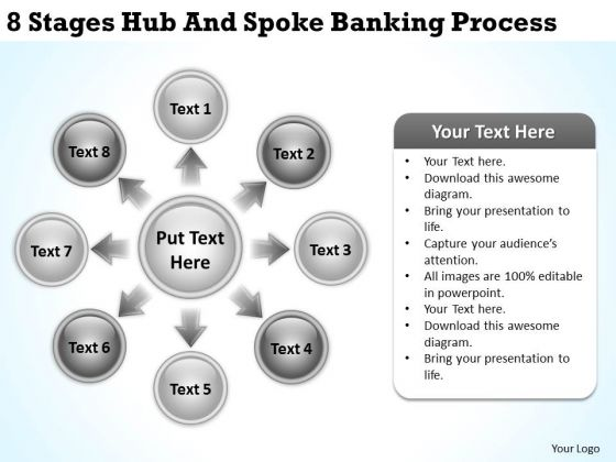 Business Network Diagram 8 Stages Hub And Spoke Banking Process PowerPoint Templates