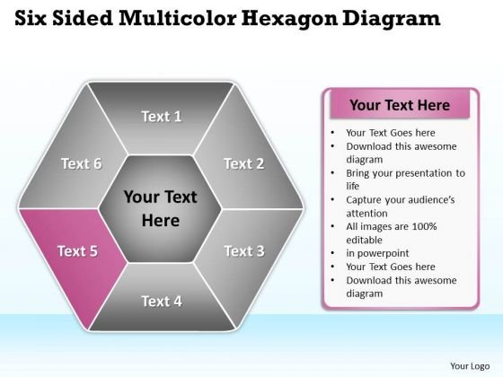Business Network Diagram Examples Six Sided Multicolor Hexagon Ppt PowerPoint Slides