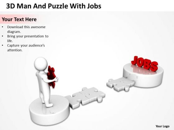 Business Organizational Chart Examples 3d Man And Puzzle With Jobs PowerPoint Templates
