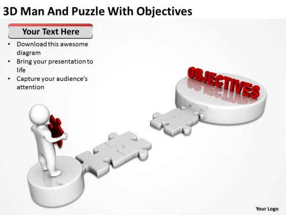 Business Organizational Chart Examples 3d Man And Puzzle With Objectives PowerPoint Templates