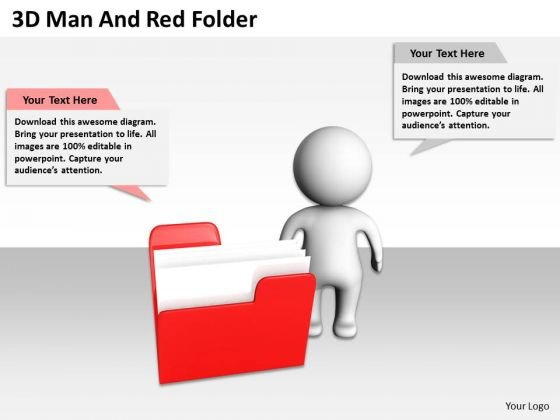 Business Organizational Chart Template 3d Man And Red Folder PowerPoint Templates